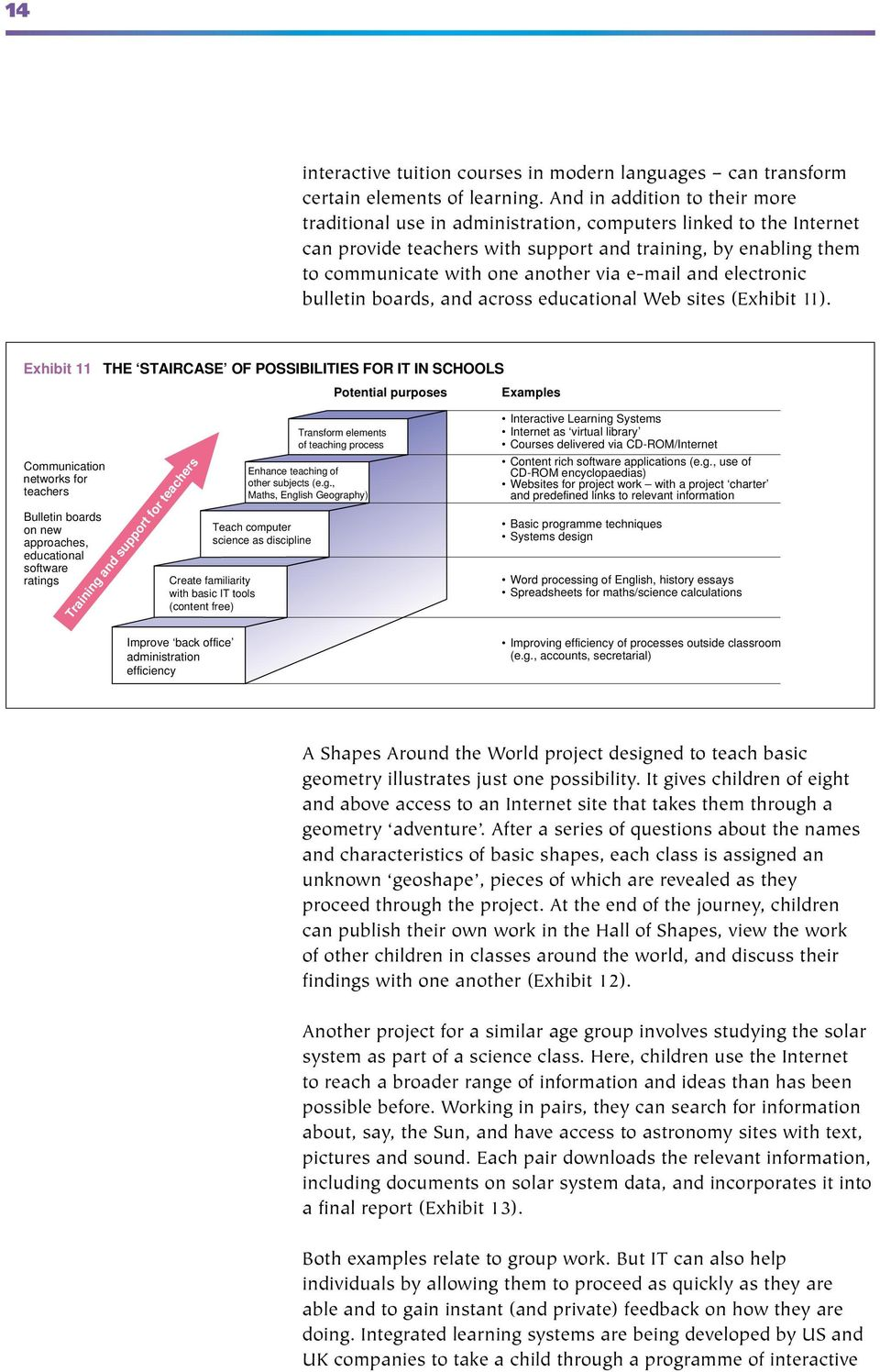 e-mail and electronic bulletin boards, and across educational Web sites (Exhibit 11).