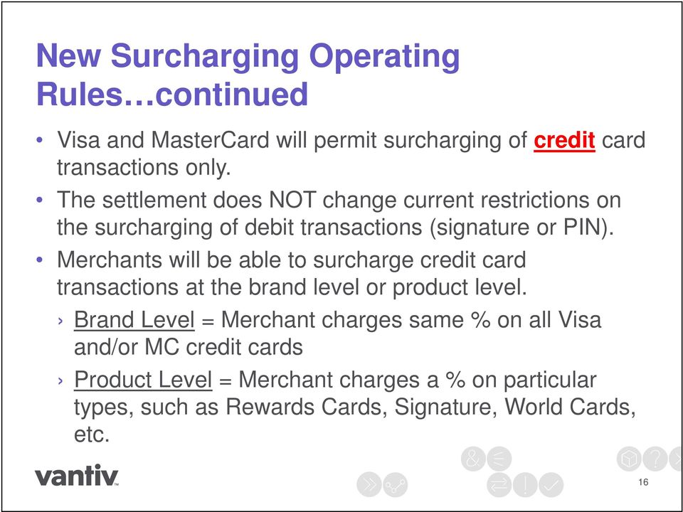 Merchants will be able to surcharge credit card transactions at the brand level or product level.
