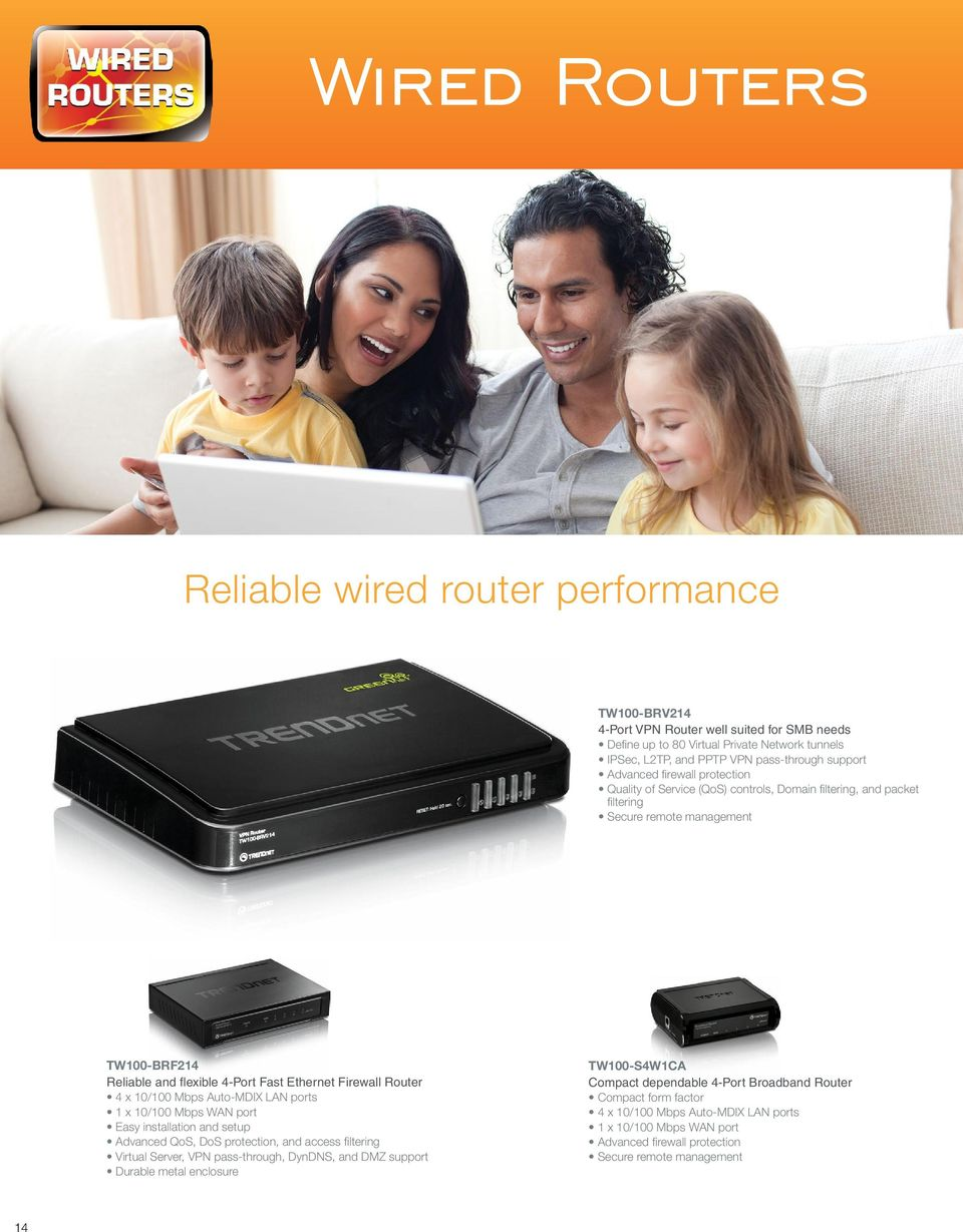 4 x 10/100 Mbps Auto-MDIX LAN ports 1 x 10/100 Mbps WAN port Easy installation and setup Advanced QoS, DoS protection, and access filtering Virtual Server, VPN pass-through, DynDNS, and DMZ support