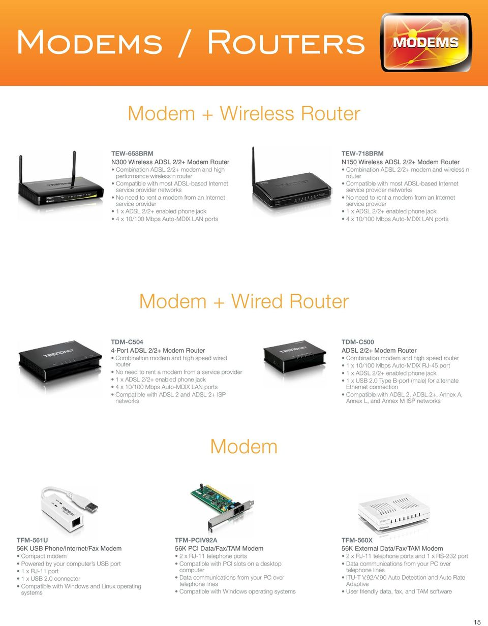 Router Combination ADSL 2/2+ modem and wireless n router Compatible with most ADSL-based Internet service provider networks No need to rent a modem from an Internet service provider 1 x ADSL 2/2+