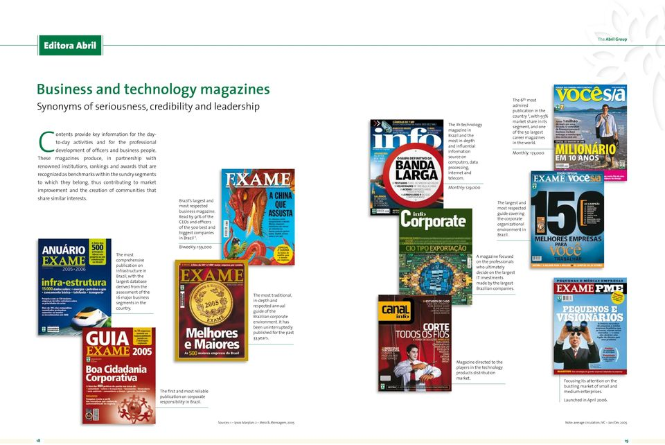 These magazines produce, in partnership with renowned institutions, rankings and awards that are recognized as benchmarks within the sundry segments to which they belong, thus contributing to market