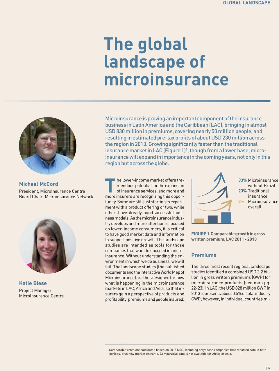 Growing significantly faster than the traditional insurance market in LAC (Figure 1) 1, though from a lower base, microinsurance will expand in importance in the coming years, not only in this region