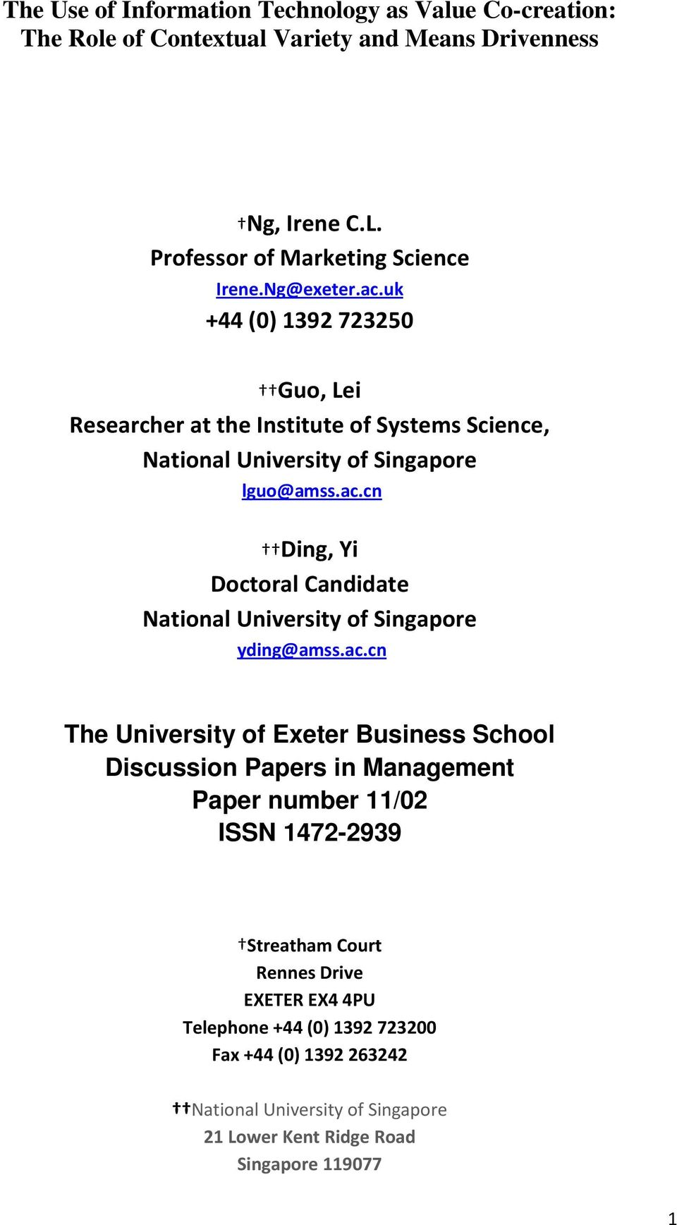 ac.cn The University of Exeter Business School Discussion Papers in Management Paper number 11/02 ISSN 1472-2939 Streatham Court Rennes Drive EXETER EX4 4PU