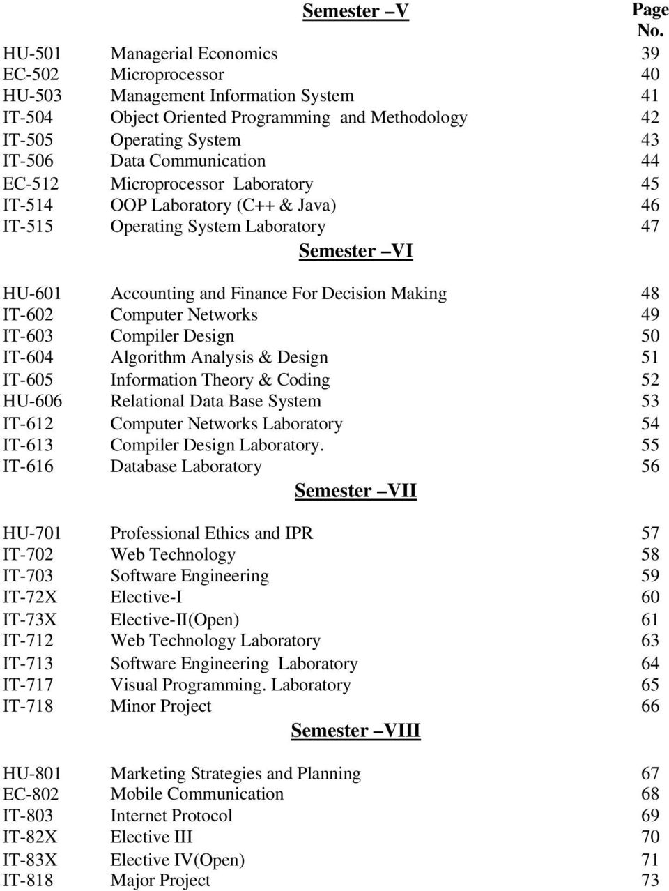 Communication 44 EC-512 Microprocessor Laboratory 45 IT-514 OOP Laboratory (C++ & Java) 46 IT-515 Operating System Laboratory 47 Semester VI HU-601 Accounting and Finance For Decision Making 48