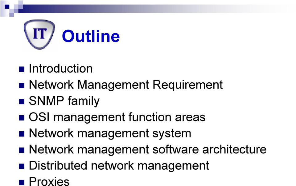 areas Network management system Network