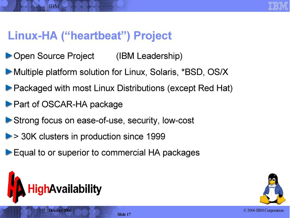 Red Hat) Part of OSCAR-HA package Strong focus on ease-of-use, security, low-cost > 30K