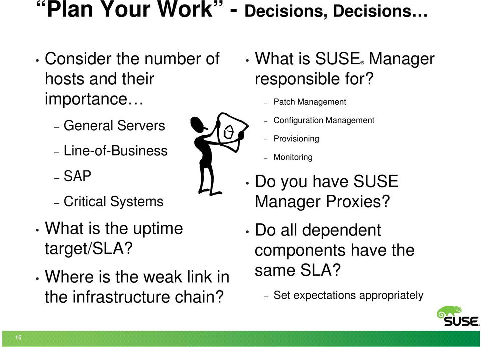 Where is the weak link in the infrastructure chain? What is SUSE Manager responsible for?