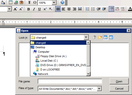 Change storage tag name After installing ThinkFree Server Integrator, and applying the adapter, a storage tag name shown in the file dialog below will be shown.