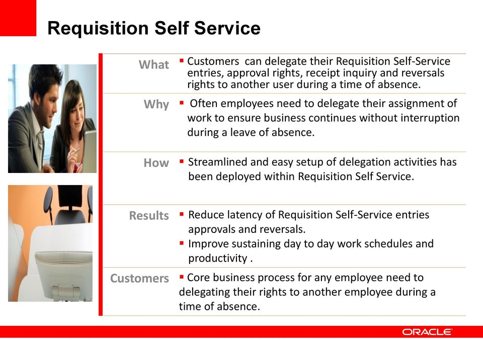 How Streamlined and easy setup of delegation activities has been deployed within Requisition Self Service.