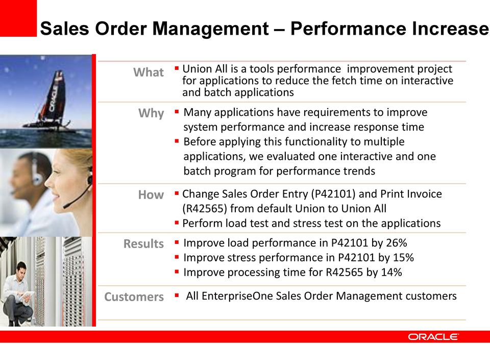 batch program for performance trends How Change Sales Order Entry (P42101) and Print Invoice (R42565) from default Union to Union All Perform load test and stress test on the applications