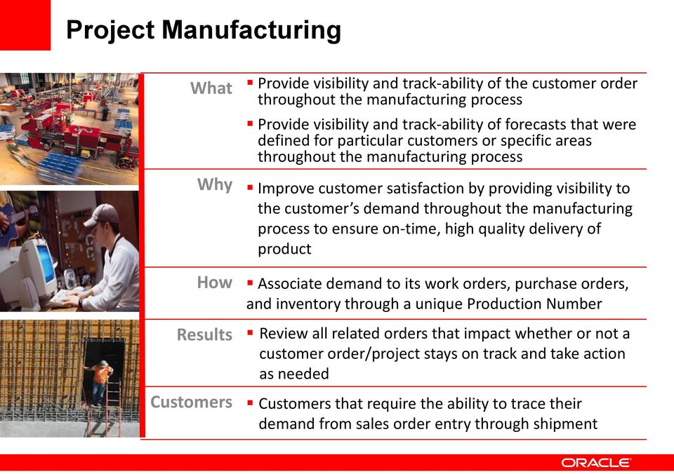 to ensure on-time, high quality delivery of product How Associate demand to its work orders, purchase orders, and inventory through a unique Production Number Results Review all related orders