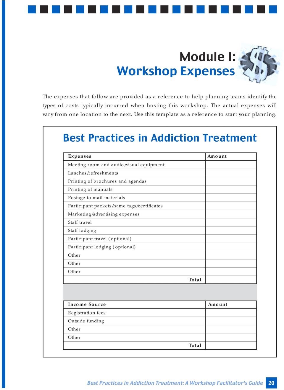 Best Practices in Addiction Treatment Expenses Meeting room and audio/visual equipment Lunches/refreshments Printing of brochures and agendas Printing of manuals Postage to mail materials Participant
