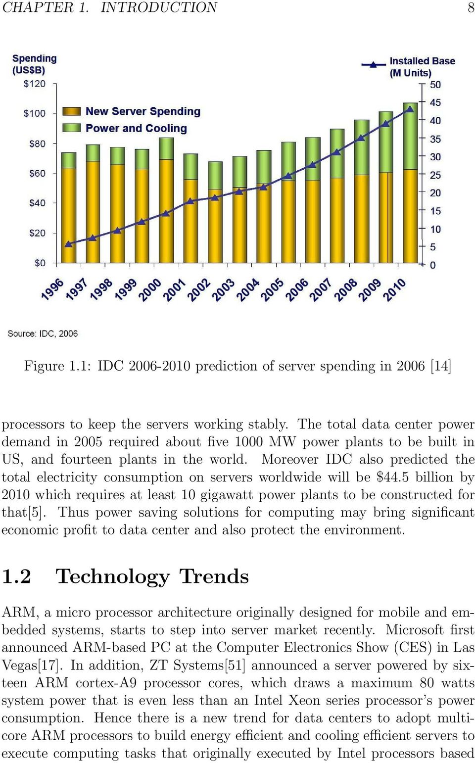 Moreover IDC also predicted the total electricity consumption on servers worldwide will be $44.5 billion by 2010 which requires at least 10 gigawatt power plants to be constructed for that[5].