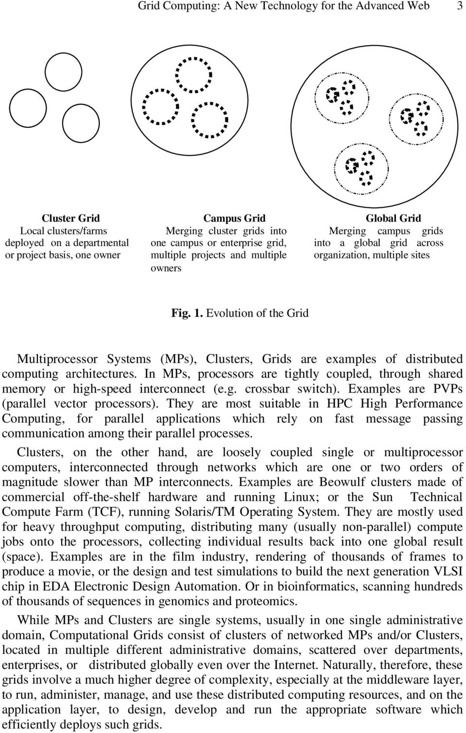 Evolution of the Grid Multiprocessor Systems (MPs), Clusters, Grids are examples of distributed computing architectures.