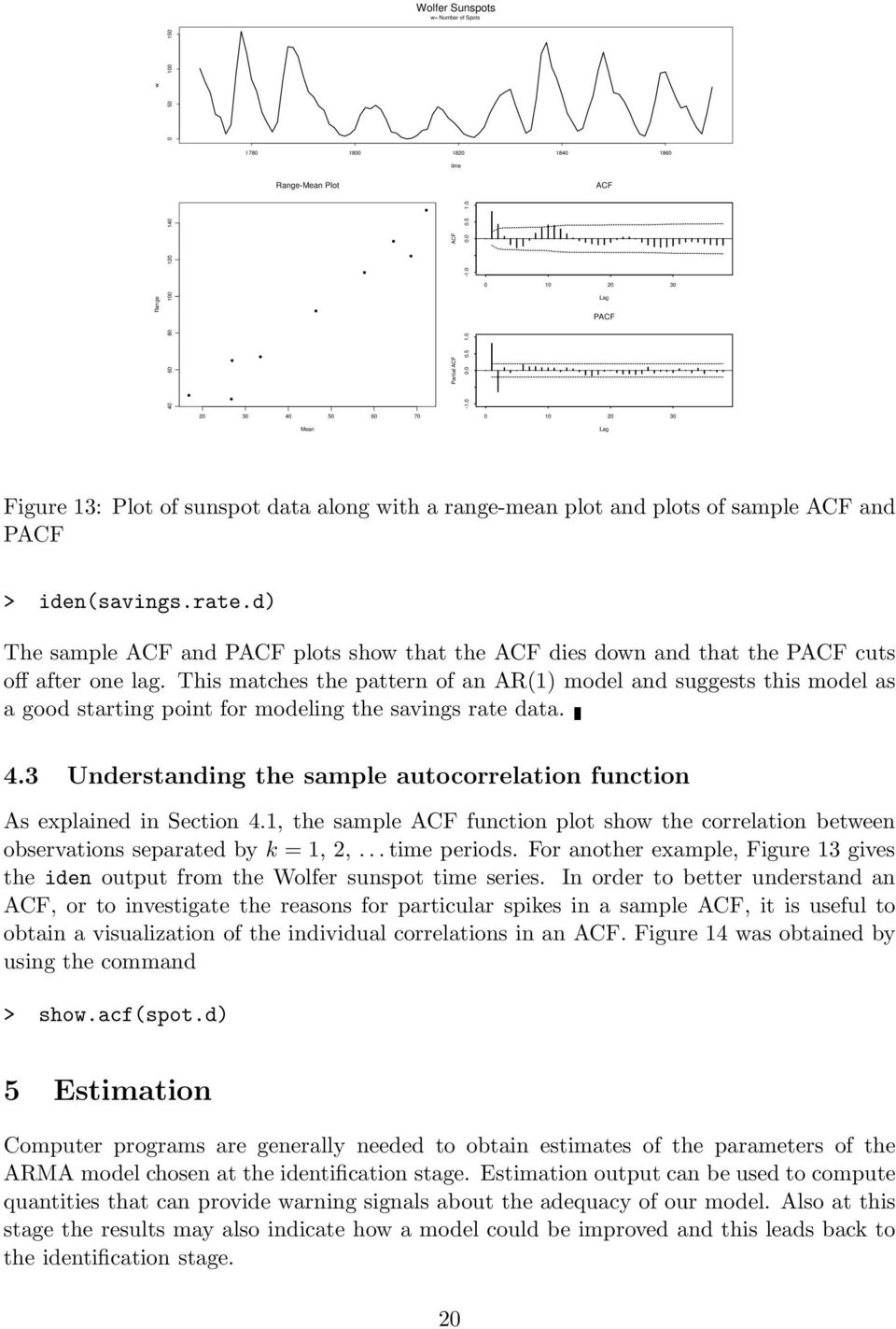 d) The sample ACF and PACF plots show that the ACF dies down and that the PACF cuts off after one lag.