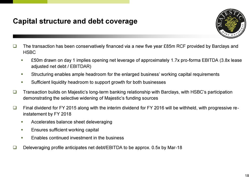 8x lease adjusted net debt / EBITDAR) Structuring enables ample headroom for the enlarged business working capital requirements Sufficient liquidity headroom to support growth for both businesses