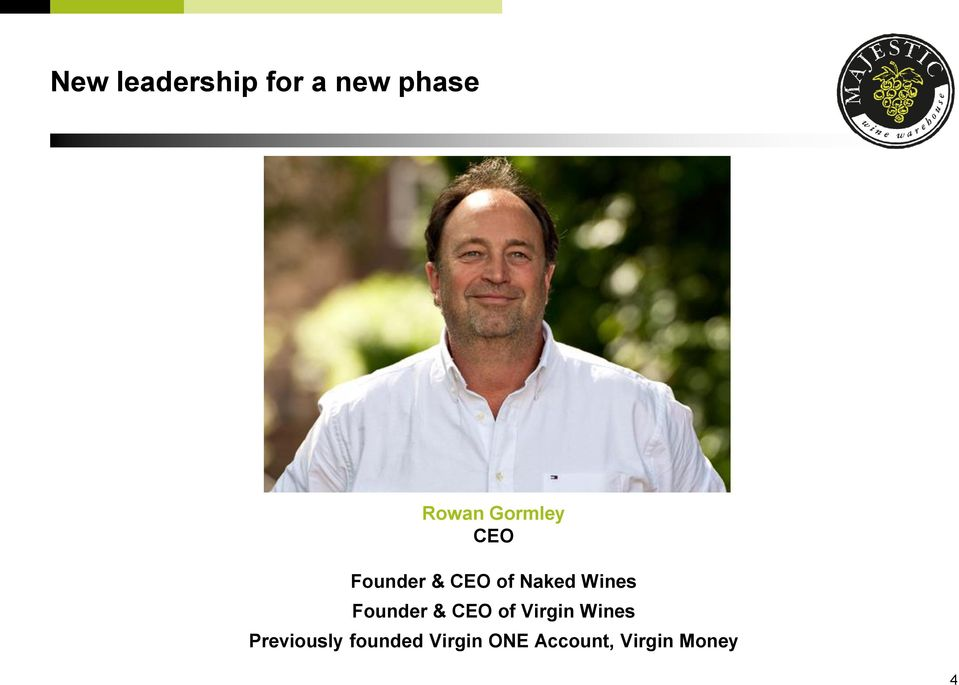 Founder & CEO of Virgin Wines Previously
