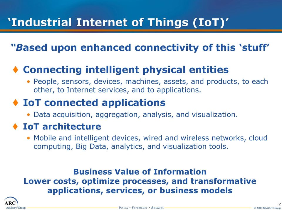 IoT connected applications Data acquisition, aggregation, analysis, and visualization.