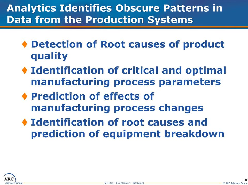 optimal manufacturing process parameters Prediction of effects of