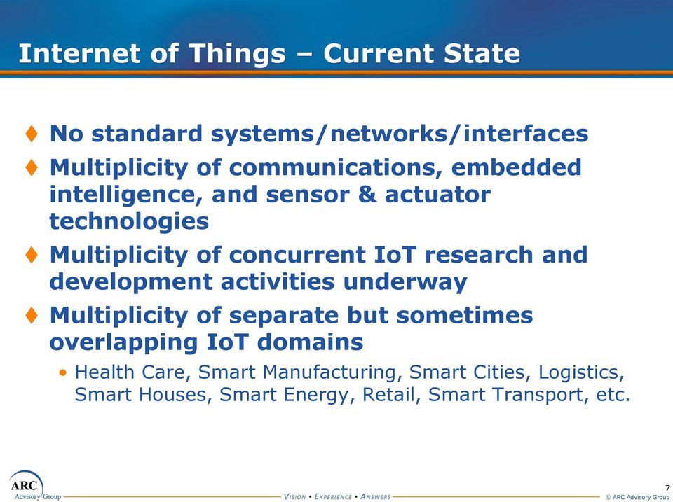 development activities underway Multiplicity of separate but sometimes overlapping IoT domains Health