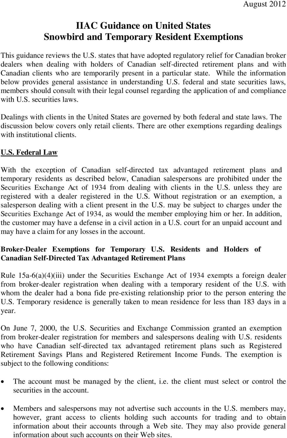 owbird and Temporary Resident Exemptions August 2012 This guidance reviews the U.S.