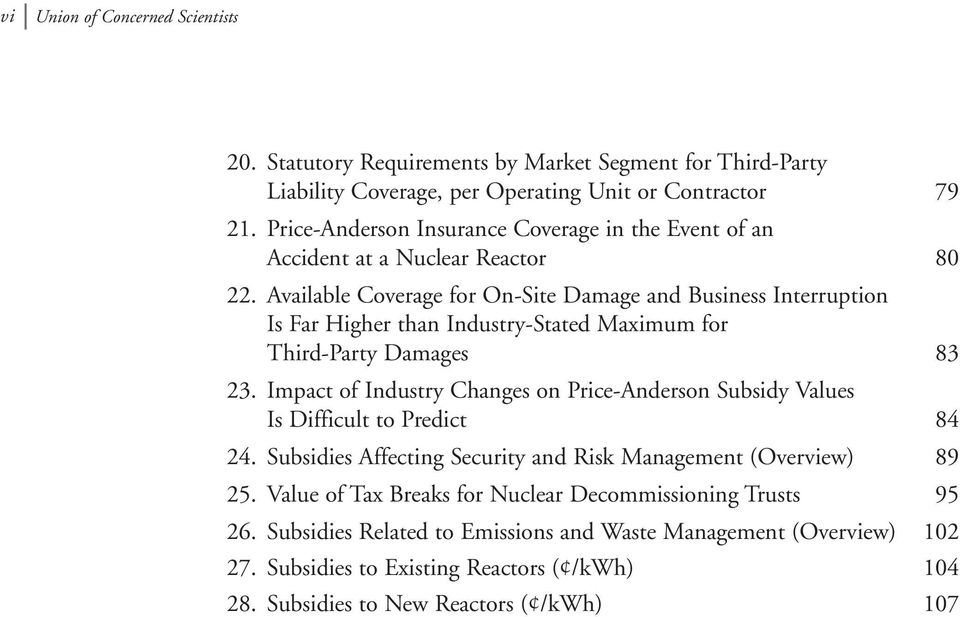 Available Coverage for On-Site Damage and Business Interruption Is Far Higher than Industry-Stated Maximum for Third-Party Damages 83 23.