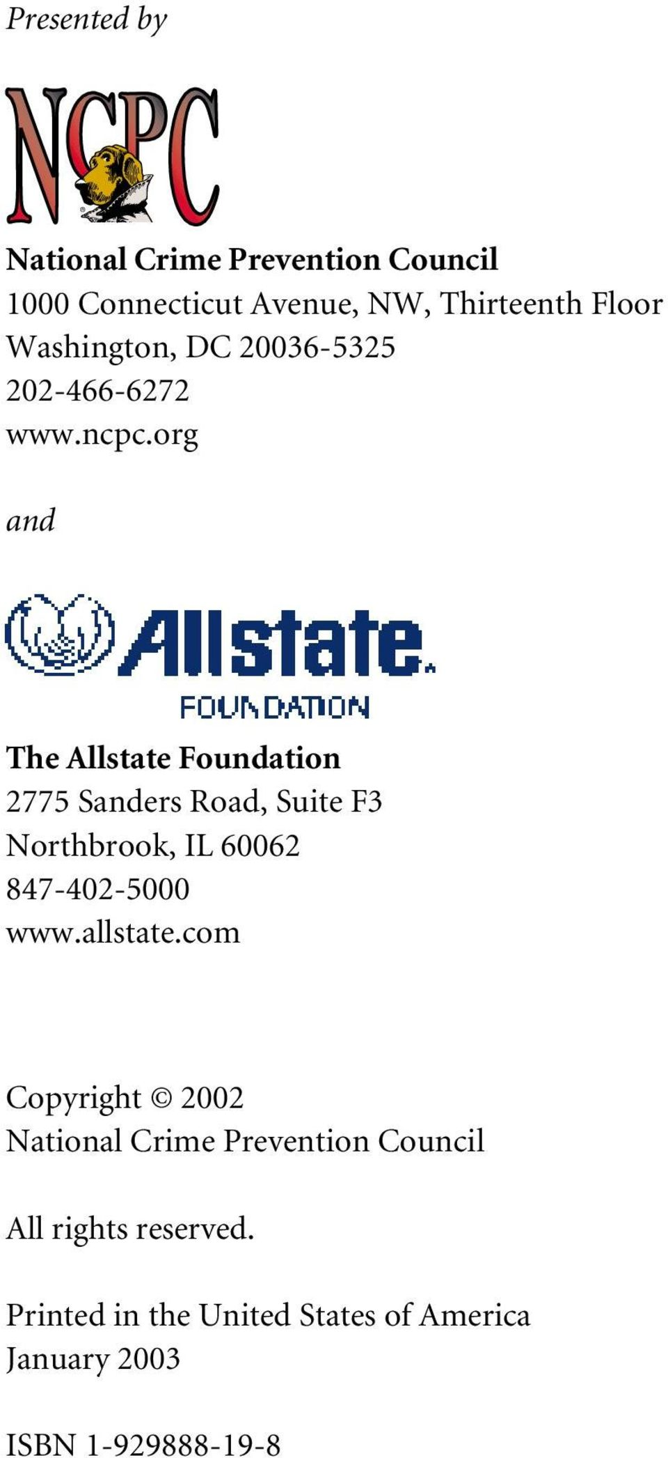 org and The Allstate Foundation 2775 Sanders Road, Suite F3 Northbrook, IL 60062 847-402-5000 www.