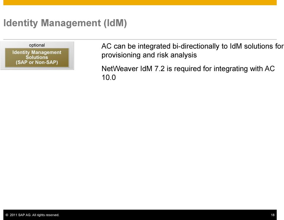 for provisioning and risk analysis NetWeaver IdM 7.