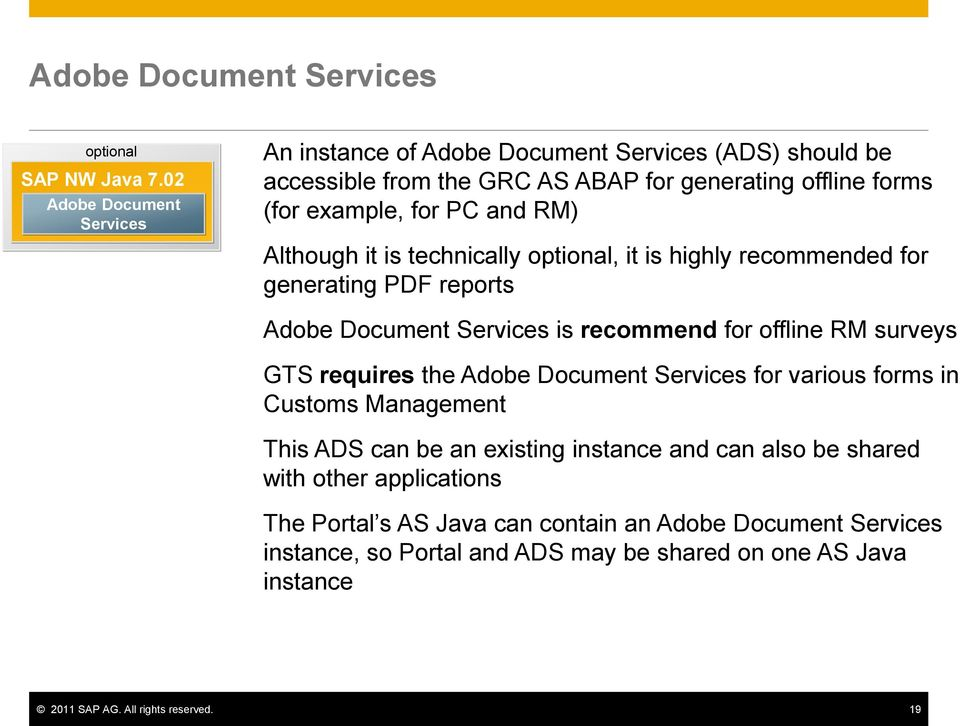 RM) Although it is technically, it is highly recommended for generating PDF reports Adobe Document Services is recommend for offline RM surveys GTS requires the Adobe