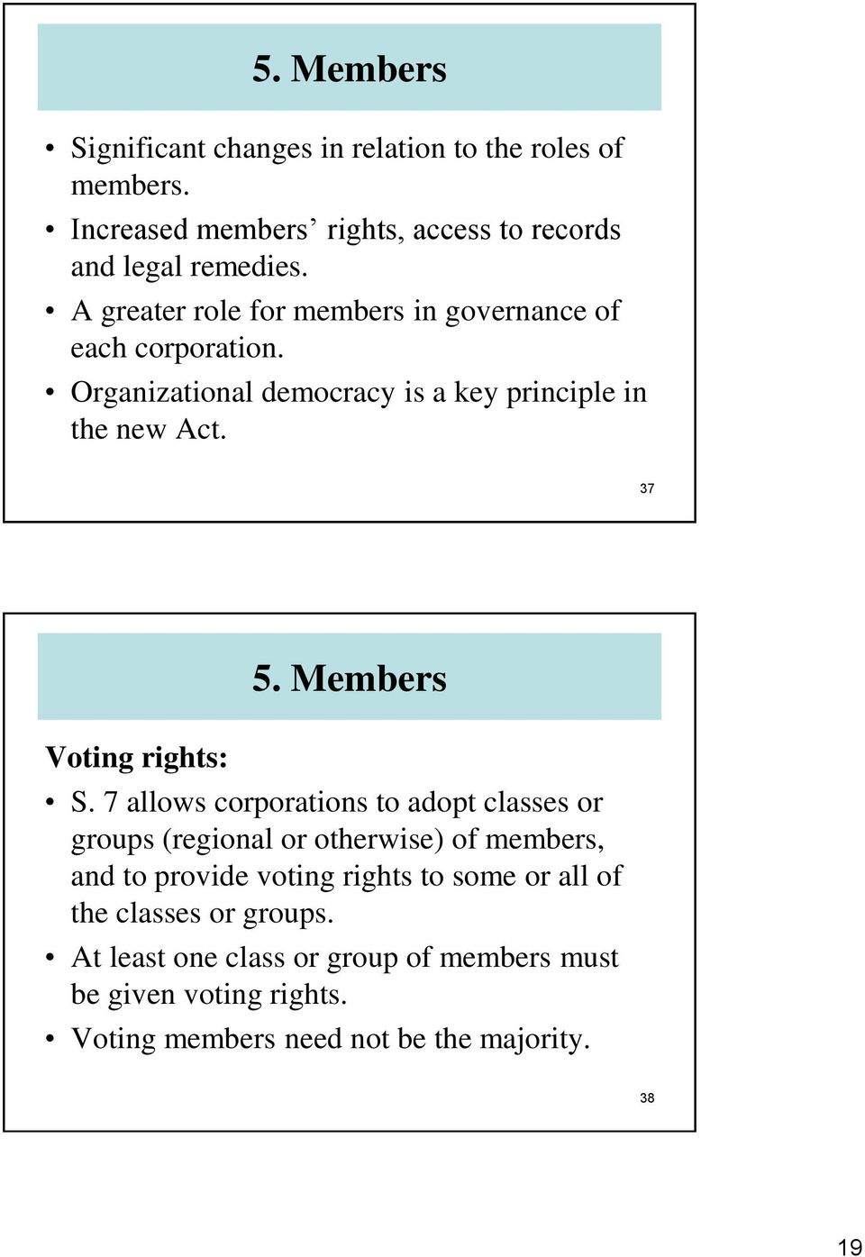 37 Voting rights: 5. Members S.