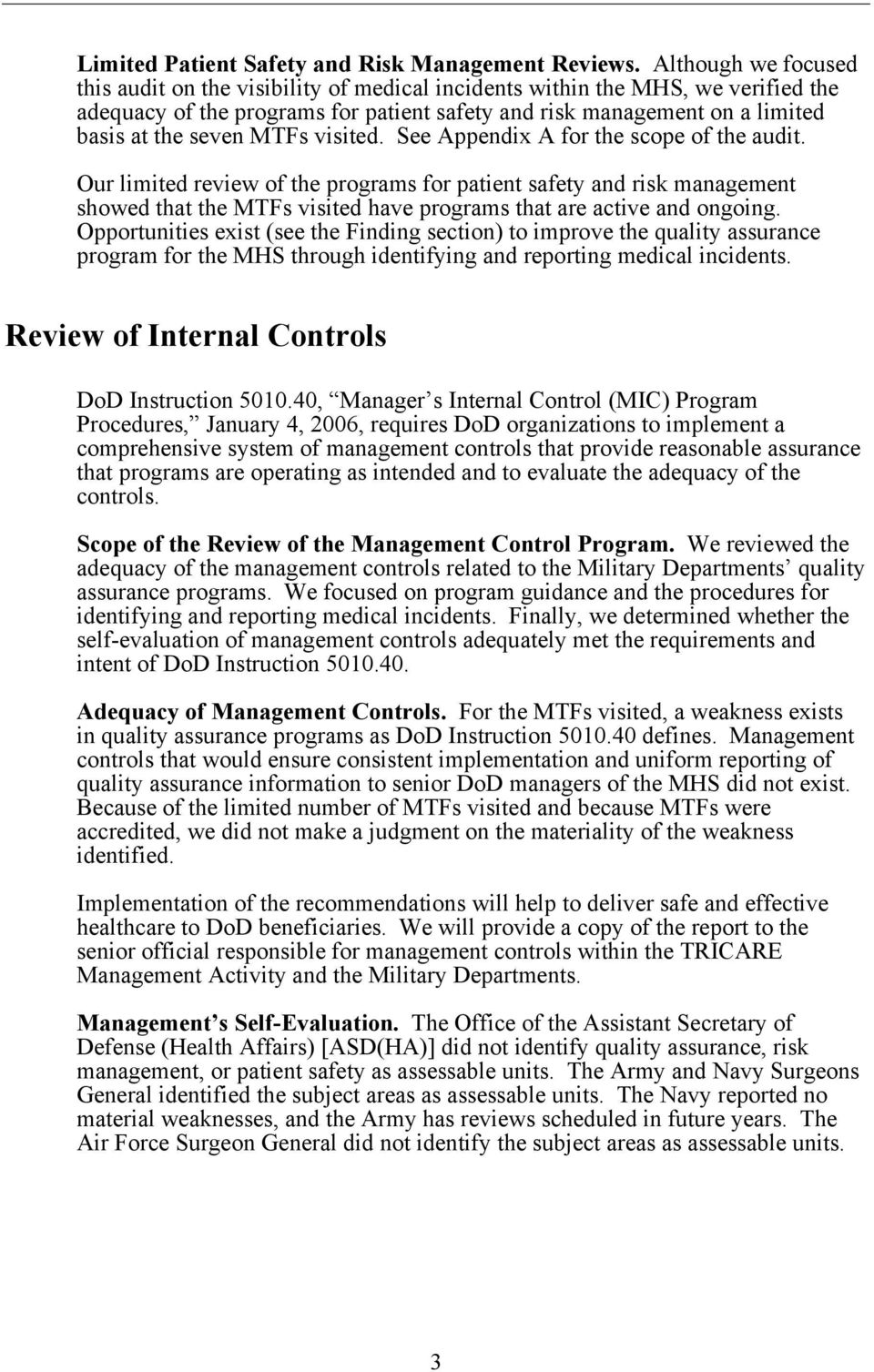 MTFs visited. See Appendix A for the scope of the audit.