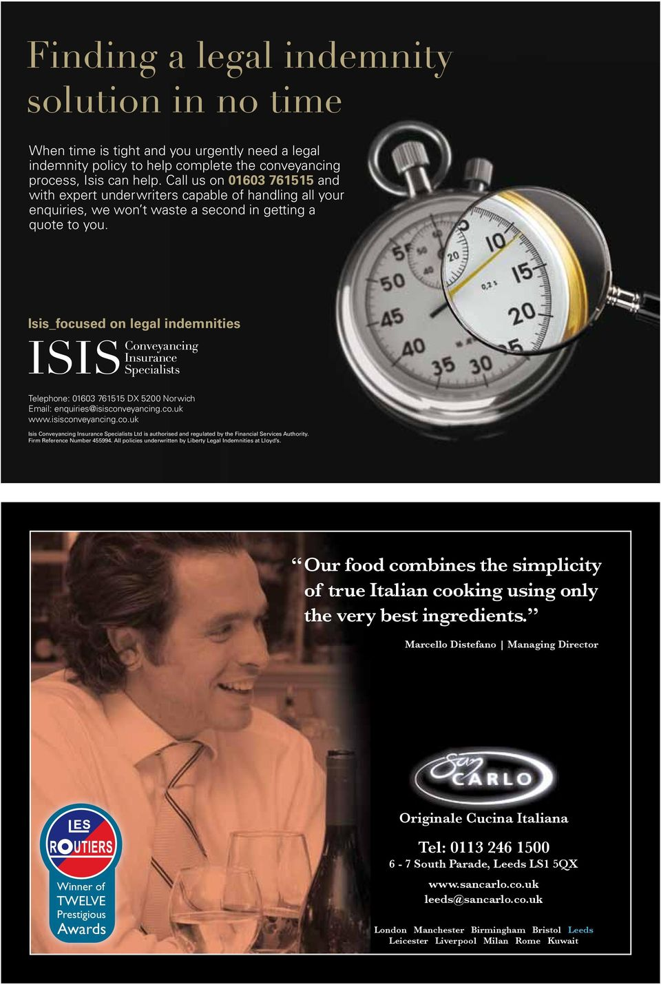 Isis_focused on legal indemnities Telephone: 01603 761515 DX 5200 Norwich Email: enquiries@isiscon
