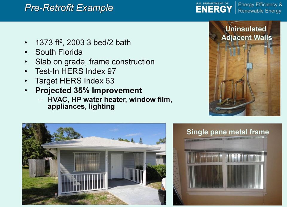 63 Projected 35% Improvement HVAC, HP water heater, window film,