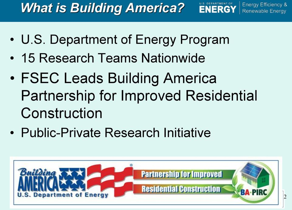 Nationwide FSEC Leads Building America Partnership
