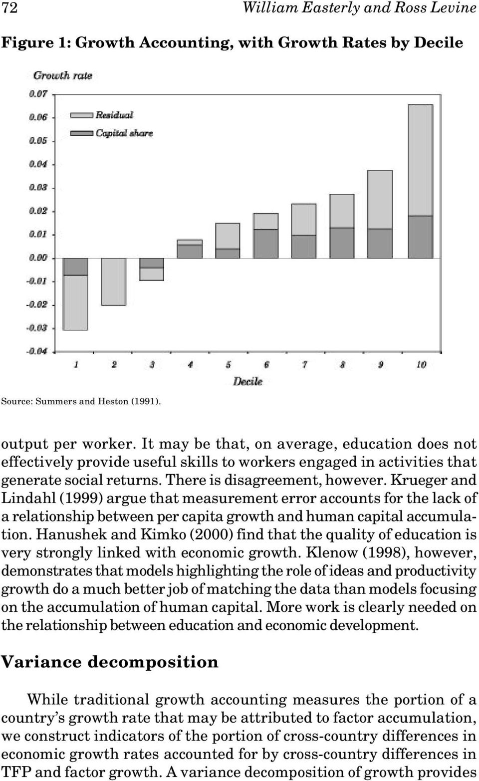 Krueger and Lindahl (1999) argue that measurement error accounts for the lack of a relationship between per capita growth and human capital accumulation.
