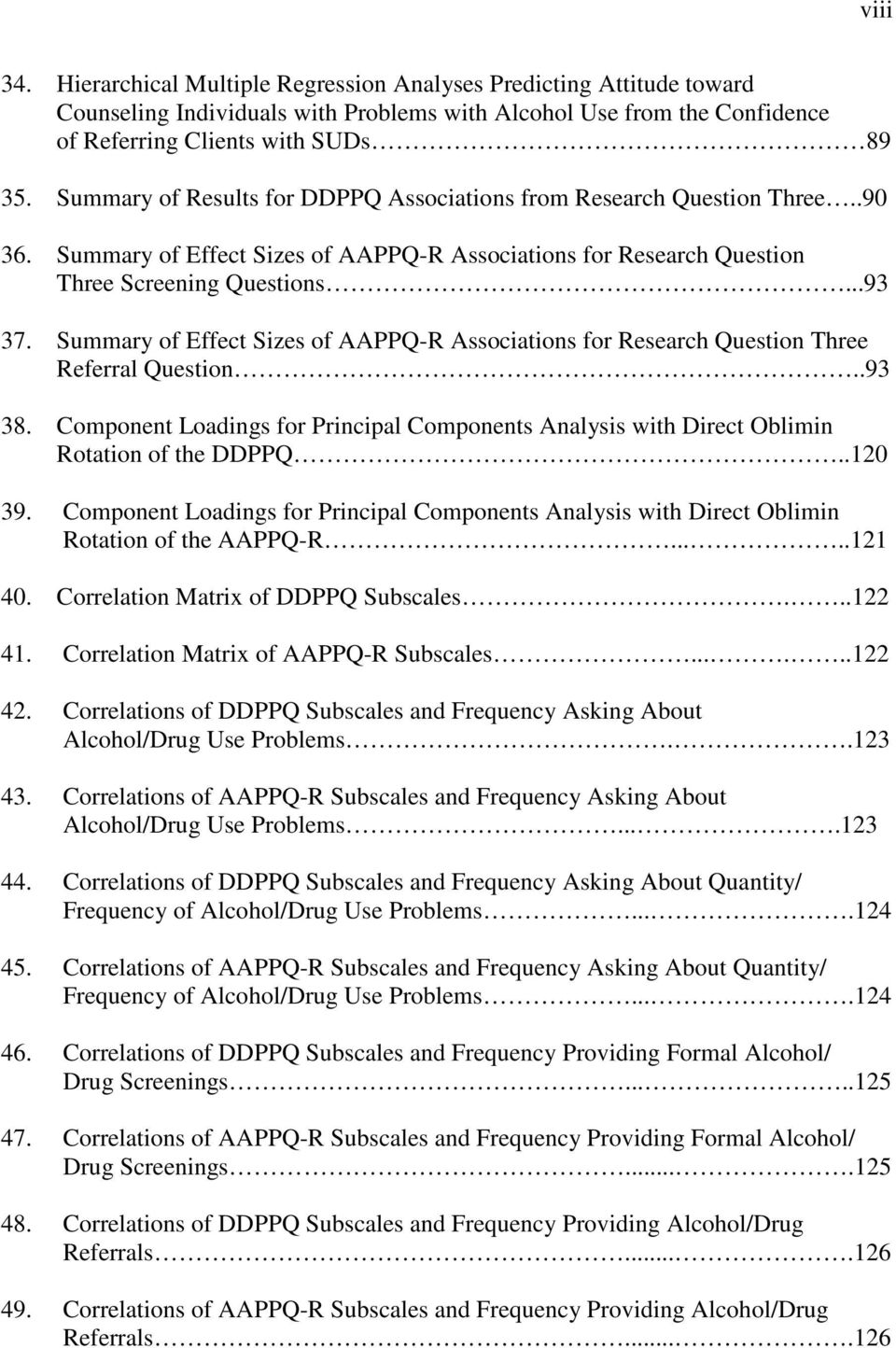 Summary of Effect Sizes of AAPPQ-R Associations for Research Question Three Referral Question..93 38. Component Loadings for Principal Components Analysis with Direct Oblimin Rotation of the DDPPQ.