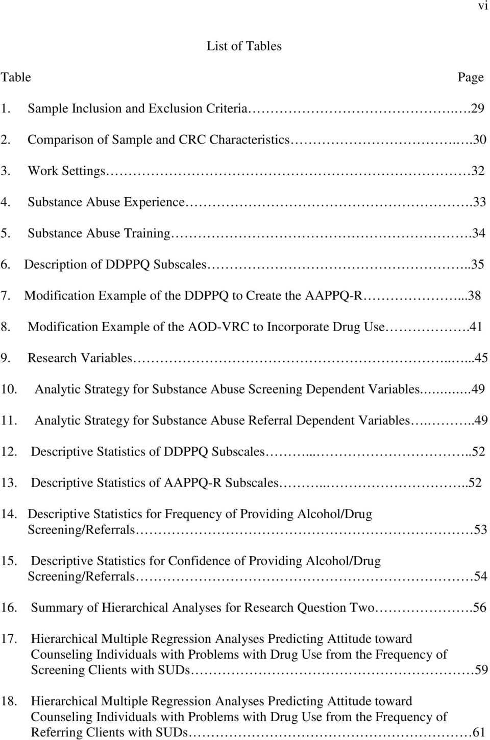 Research Variables.....45 10. Analytic Strategy for Substance Abuse Screening Dependent Variables.49 11. Analytic Strategy for Substance Abuse Referral Dependent Variables...49 12.