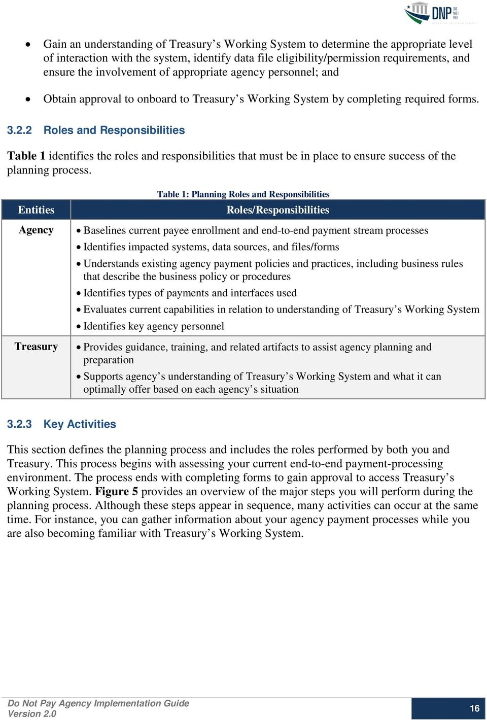 2 Roles and Responsibilities Table 1 identifies the roles and responsibilities that must be in place to ensure success of the planning process.