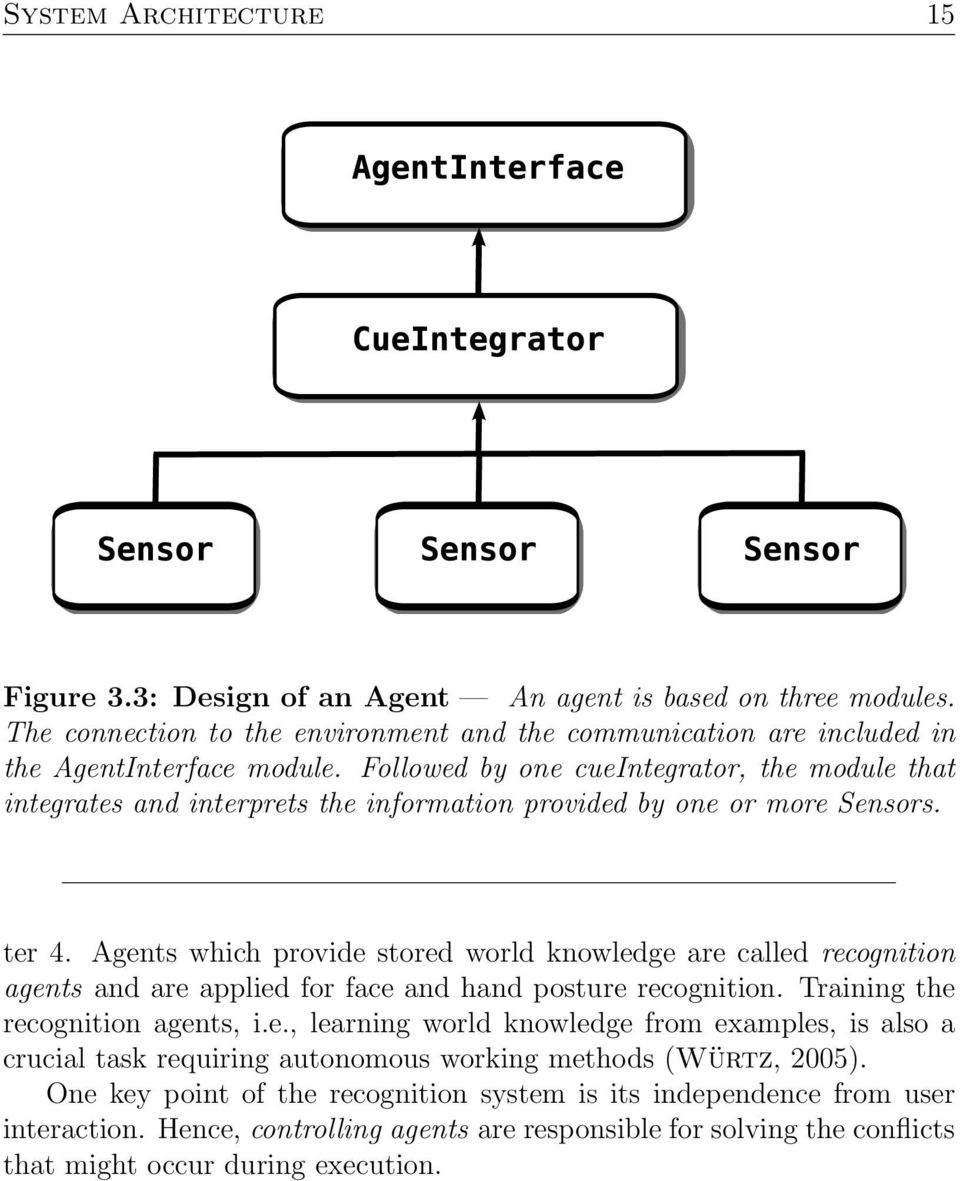 Agents which provide stored world knowledge are called recognition agents and are applied for face and hand posture recognition. Training the recognition agents, i.e., learning world knowledge from examples, is also a crucial task requiring autonomous working methods (Würtz, 2005).