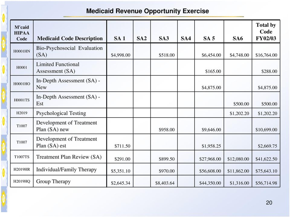 00 H2019 Psychological Testing $1,202.20 $1,202.20 T1007 T1007 Development of Treatment Plan (SA) new $958.00 $9,646.00 $10,699.00 Development of Treatment Plan (SA) est $711.50 $1,958.25 $2,669.