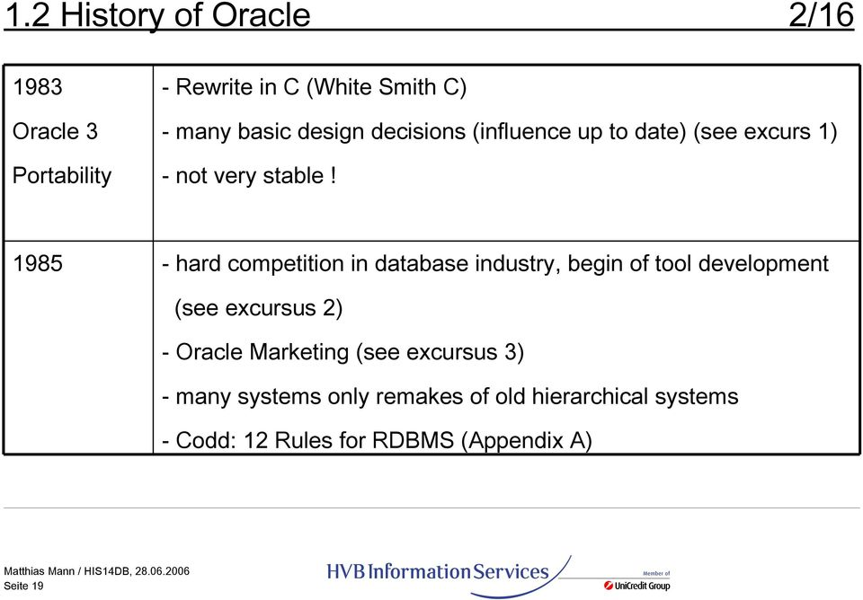 1985 - hard competition in database industry, begin of tool development (see excursus 2) - Oracle