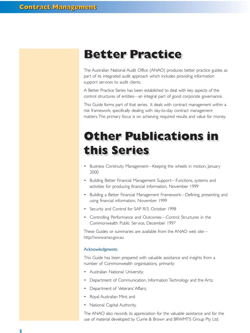 Contract Management. Better Practice Guide. February PDF