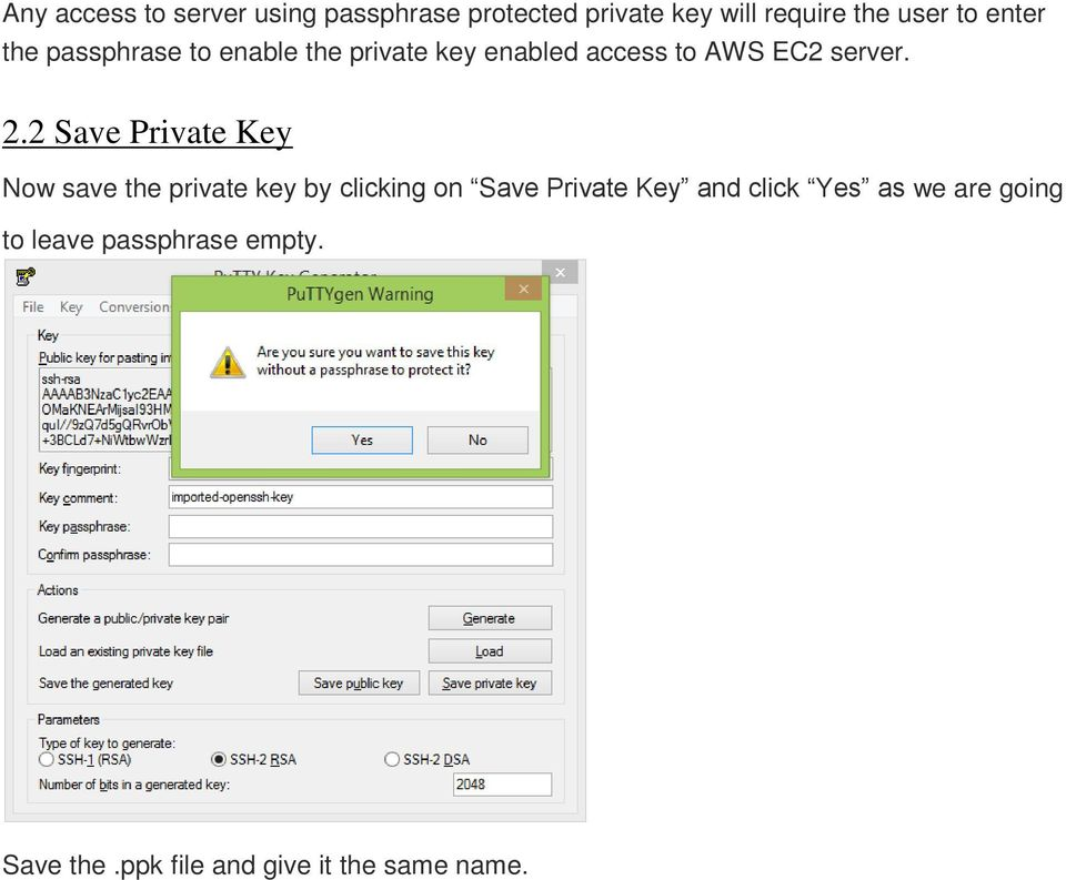 2 Save Private Key Now save the private key by clicking on Save Private Key and click