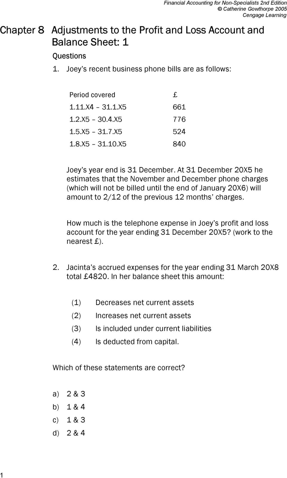 At 31 December 20X5 he estimates that the November and December phone charges (which will not be billed until the end of January 20X6) will amount to 2/12 of the previous 12 months charges.