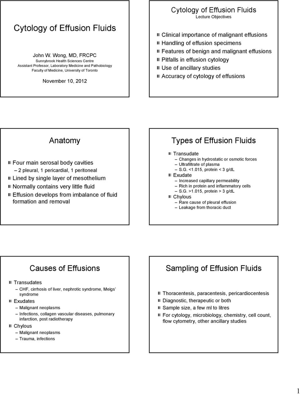 Lecture Objectives Clinical importance of malignant effusions Handling of effusion specimens Features of benign and malignant effusions Pitfalls in effusion cytology Use of ancillary studies Accuracy