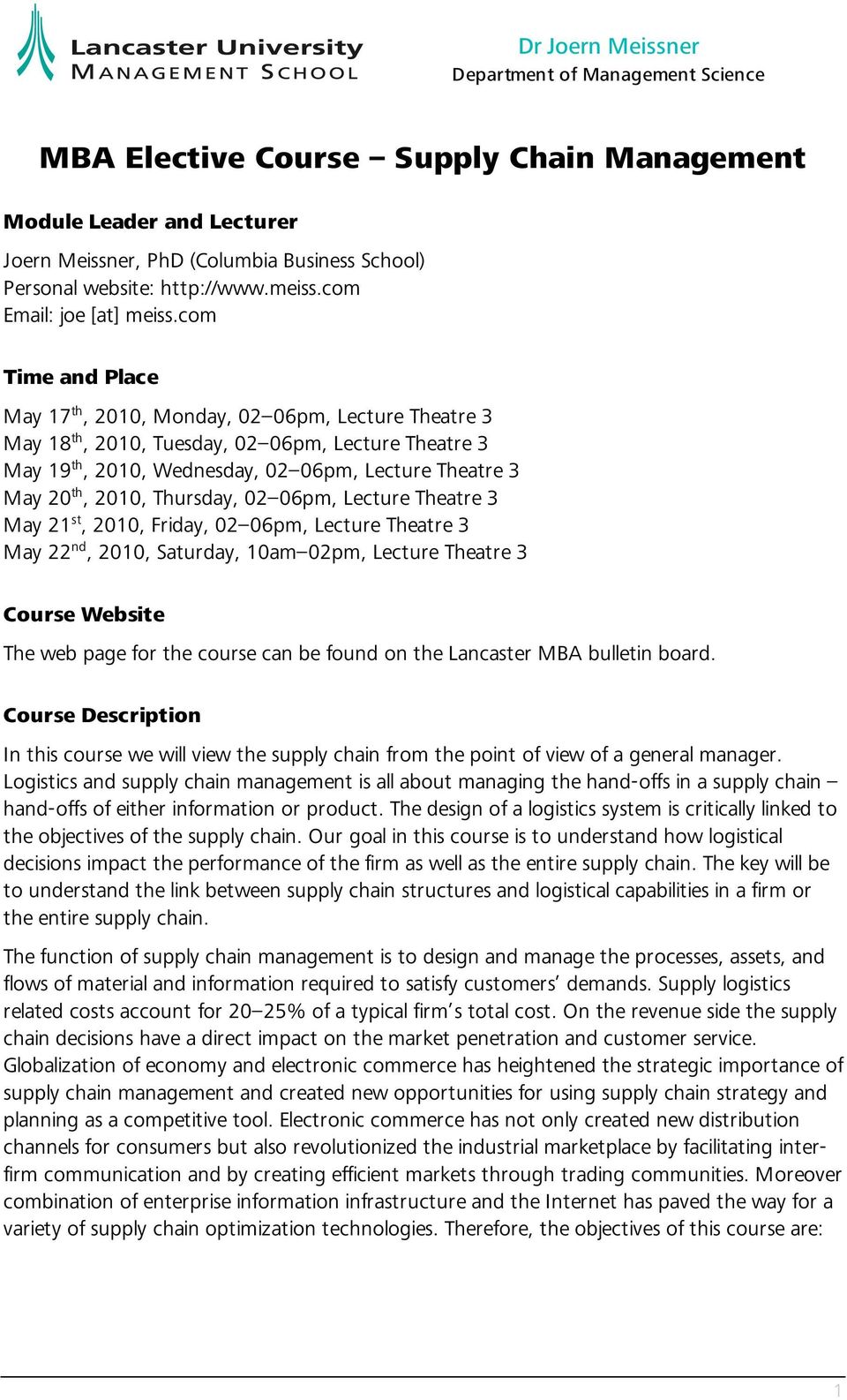 MBA Elective Course Supply Chain Management - PDF