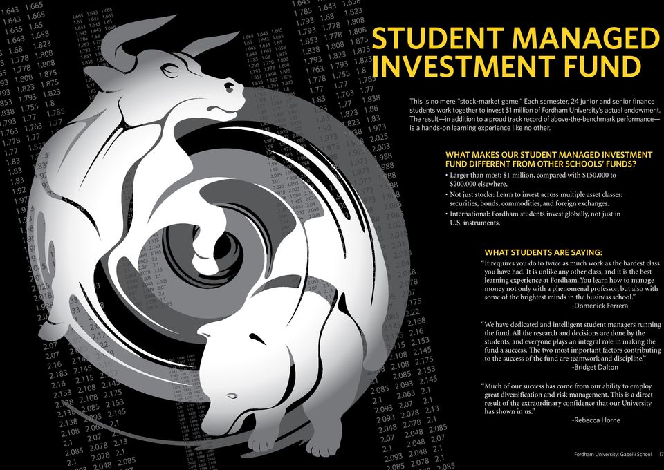 WHAT MAKES OUR STUDENT MANAGED INVESTMENT FUND DIFFERENT FROM OTHER SCHOOLS FUNDS? Larger than most: $1 million, compared with $150,000 to $200,000 elsewhere.