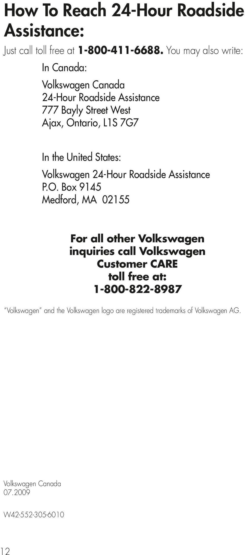 United States: Volkswagen 24-Hour Roadside Assistance P.O.