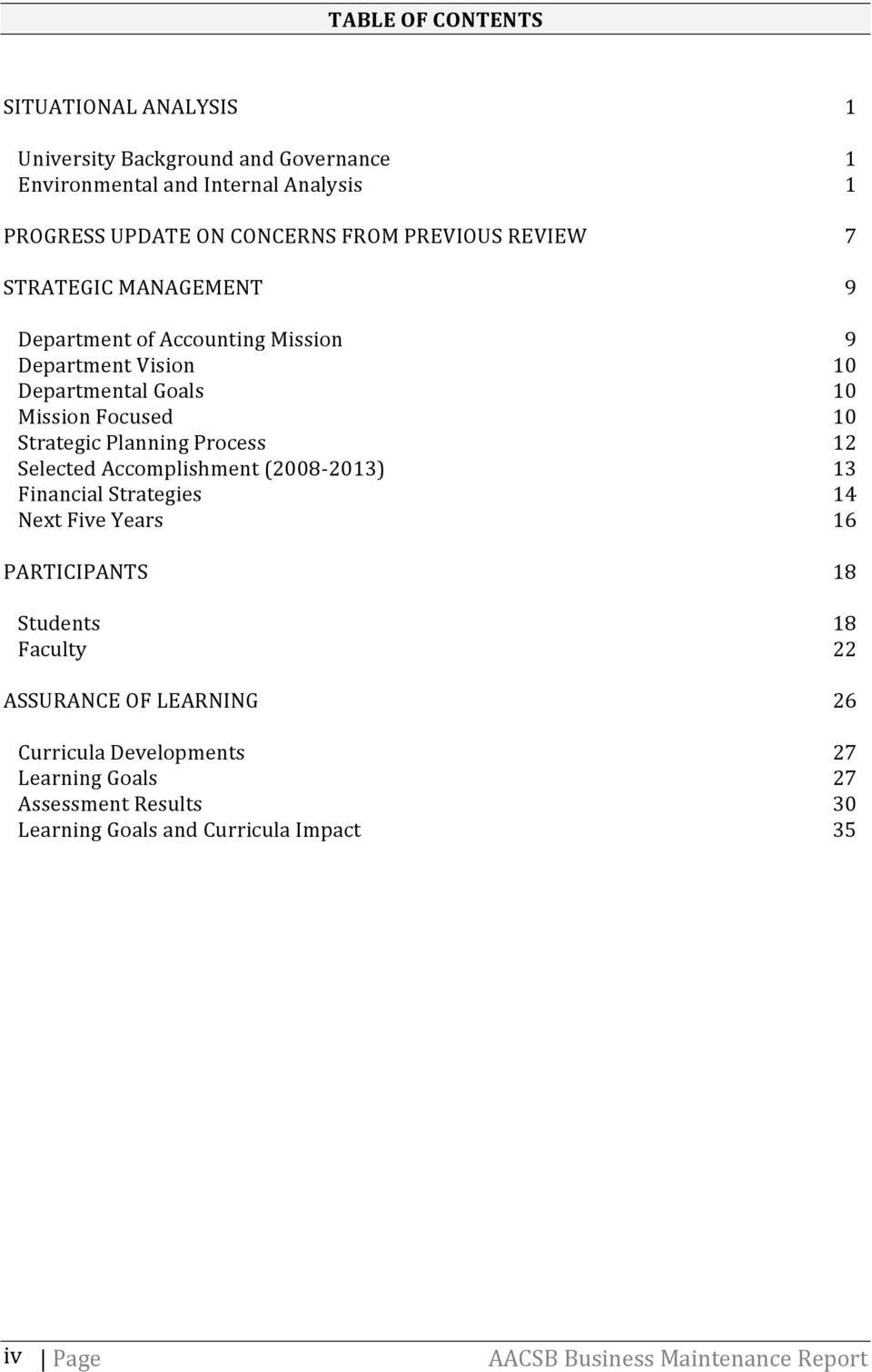 Selected Accomplishment (2008-2013) Financial Strategies Next Five Years PARTICIPANTS Students Faculty ASSURANCE OF LEARNING Curricula Developments