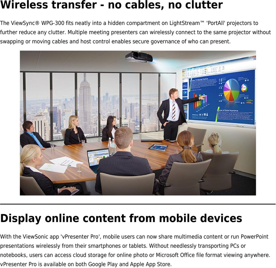 Display online content from mobile devices With the ViewSonic app 'vpresenter Pro', mobile users can now share multimedia content or run PowerPoint presentations wirelessly from their